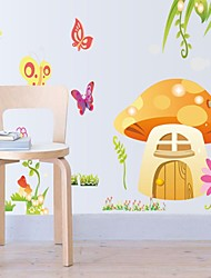 Wall Stickers Wall Decals, Lovely Mushrooms&Butterfly PVC Wall Stickers