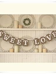 "Wedding Décor Vintage Handmade"" SWEET LOVE""  Party Banner Sign Photo Props"