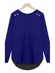 Women's Solid Blue T-shirt , Round Neck Long Sleeve Button