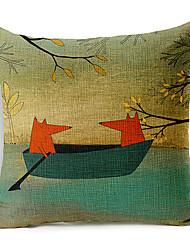 Algodón/Lino Cobertor de Cojín , Estampado animal Estilo playero