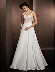 LAN TING BRIDE A-line Wedding Dress See-Through Floor-length Jewel Lace Satin Chiffon with Appliques