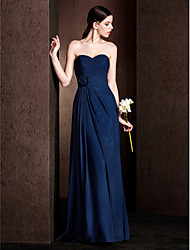 LAN TING BRIDE Floor-length Chiffon / Stretch Satin Bridesmaid Dress - Sheath / Column Sweetheart Plus Size / Petite