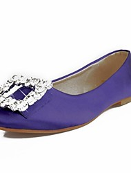 Women's Spring / Summer / Fall Round Toe Satin Wedding Flat Heel Rhinestone Black / Pink / Purple / Red