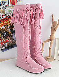 Loubo Women's Comfortable Causual Tassel Overknee Boots
