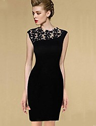 TS   Women's Sexy Vintage  Splicing Lace Simplicity Sheath Dress