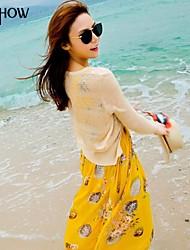MiShow®Women's Round Collar Peach Blossom Print Bohemian Style Design Chiffon Slim Maxi Beach Dress