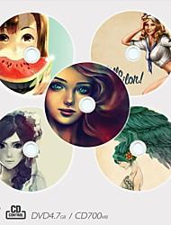 / dvd-r patrón de la muchacha disco grabable personalizado cd-r diferentes diseños del regalo de la magia (juego de 5)