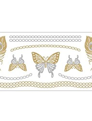 1Pc Gold And Silver Metallic Butterfly Necklace Bracelet Tattoo Sticker