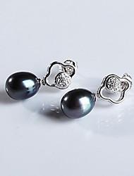 perle noire naturelle 925 boucle d'oreille en argent