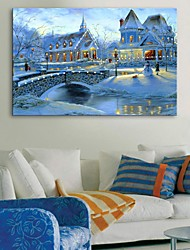 E-HOME® Stretched LED Canvas Print Art Snowy town Flash effect LED