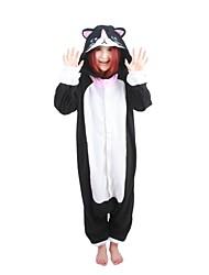 Kigurumi Pyjamas Chat Collant/Combinaison Halloween Pyjamas Animale Noir/blanc Mosaïque Polaire Kigurumi UnisexeHalloween / Noël /