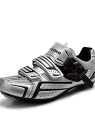 TIEBAO Unisex Silvery+Black High Holding Power Road Bike Cycling Shoes