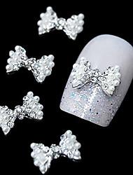 10pcs  Fashion Pearl Bow Tie 3D Rhinestone DIY Alloy Accessories Nail Art Decoration