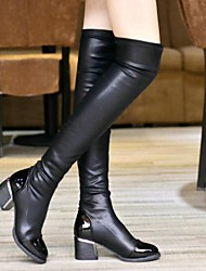 женская обувь Круглый носок коренастый пятки над коленом сапоги с раздельным сустава