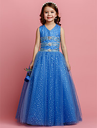 Ball Gown Floor-length Flower Girl Dress - Tulle V-neck with Beading Crystal Detailing