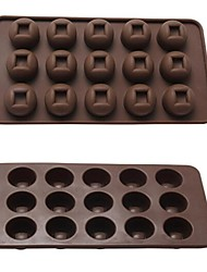 15 Hole Copper Shape Cake Ice Jelly Chocolate Molds,Silicone 21.3×10.8×2 CM(8.4×4.3×0.8INCH) Random Color