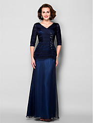 Sheath/Column Mother of the Bride Dress - Dark Navy Floor-length Half Sleeve Chiffon/Tulle