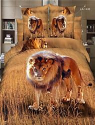Bettbezug-Set, Heimtextilien delux Wohnkultur aus 100% Baumwolle gedruckte 3D-Betten mit Löwenmuster eingestellt