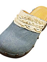 plataforma de los zapatos de tacón grueso zuecos de mezclilla de las mujeres&zapatos mulas más colores disponibles