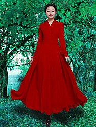 Women's Party/Cocktail Vintage Swing Dress,Solid V Neck Maxi Long Sleeve Red Polyester Spring / Fall / Winter
