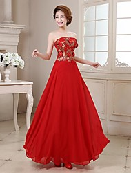 Formal Evening Dress A-line Strapless Floor-length Satin with Crystal Detailing / Embroidery / Flower(s) / Sequins