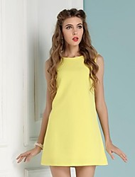 Women's Yellow Cute Casual Summer Knitwear Sleeveless Dresses