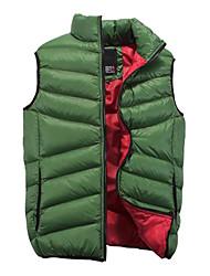 Men's Regular Parka Coat , Others Pure Sleeveless