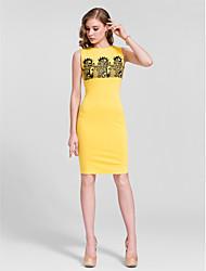 Cocktail Party Dress Sheath/Column Jewel Knee-length Cotton