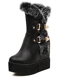 botas de los zapatos de nieve de las mujeres botas de punta de cuña de la plataforma del talón mitad de la pantorrilla redondas