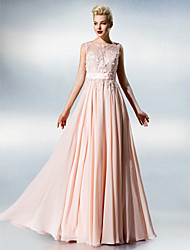 Dress A-line Jewel Floor-length Chiffon/Lace