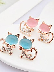 Kinder/Damen Ohrring Legierung Opal Stud Earrings