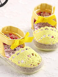 Girls' Shoes First Walkers Flat Heel Ankle Strap Flat Heel Cotton Flats with Bowknot and Magic Tap Shoes