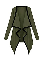 Women's Coat,Solid Long Sleeve Spring / Summer / Fall Pink / Beige / Black / Brown / Green Polyester Thin