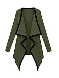 Women's Asymmetric Contrast Coat Long Sleeve Outerwear
