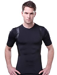 OUTTO Men's Black Sports Compression Short Sleeve Top