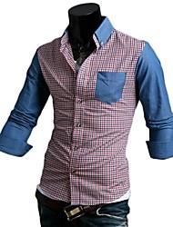 Men's Fashion Denim Hit Color Lattice  Long Sleeve Shirt