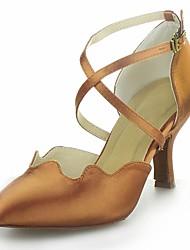 Non Customizable Women's Dance Shoes Modern Satin Cuban Heel Black/Brown/Red/Silver