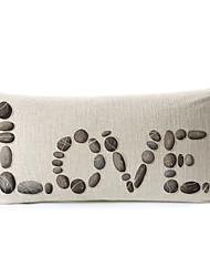 """мощеной """"любовь"""" шаблон хлопок / лен декоративная подушка крышка"""