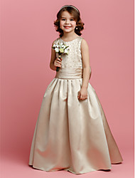 Flower Girl Dress - Trapezio A Terra Senza Maniche Raso