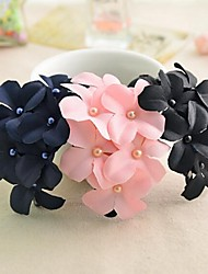 Handmade Fabric Six Small Flower Barrettes