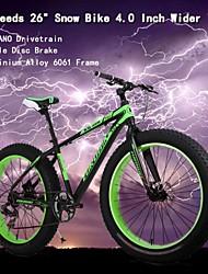 """7 vitesses bicicleta montanha OBK ™ 26 """"* 4.0 pouces élargir pneus montagne bicicletas terrain bicicleta neige graisse bicyclette"""