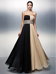 A-Line Strapless Floor Length Chiffon Prom Formal Evening Dress with Beading Sash / Ribbon Sequins by TS Couture®