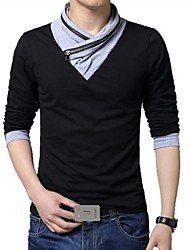 Men's V-Neck Long Sleeved Cotton T-Shirt