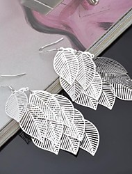 Titanium and Silver Leaf  Shaped Pendent Pierced  Women's Earrings