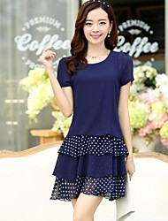 Women's Polka Dot Blue/Black Dress , Casual/Plus Sizes Round Neck Short Sleeve