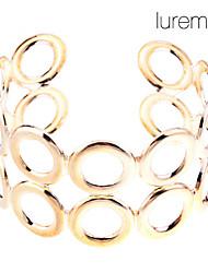 lureme ouro das mulheres banhado camadas duplas oca bracelete