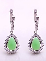 AS 925 Silver Jewelry  Green jade exquisite 8MM*10MM Pear Shaped Earrings