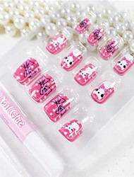 12 Pcs The White Cat Design Nail Art Tips With Glue
