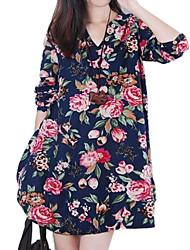 V шеи флора печати белье с длинным рукавом мини-платье женское