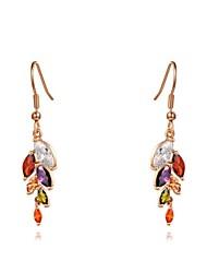 la mode colorée oreille des femmes de riz boucle d'oreille de cristal de zircon de chute en alliage de forme (une paire)